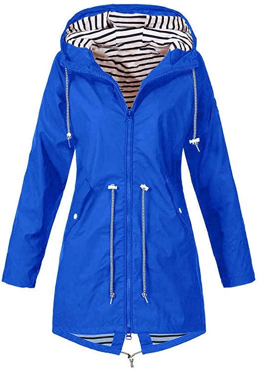 ZEFOTIM Women's Raincoats, Windbreaker Rain Jacket Waterproof .