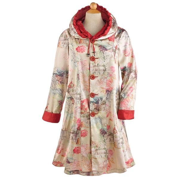 Women's Red Reversible Lightweight & Packable Raincoat With Hood .