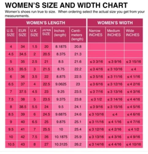 Details about Womens Shoe Size Conversion Chart - US UK EU .
