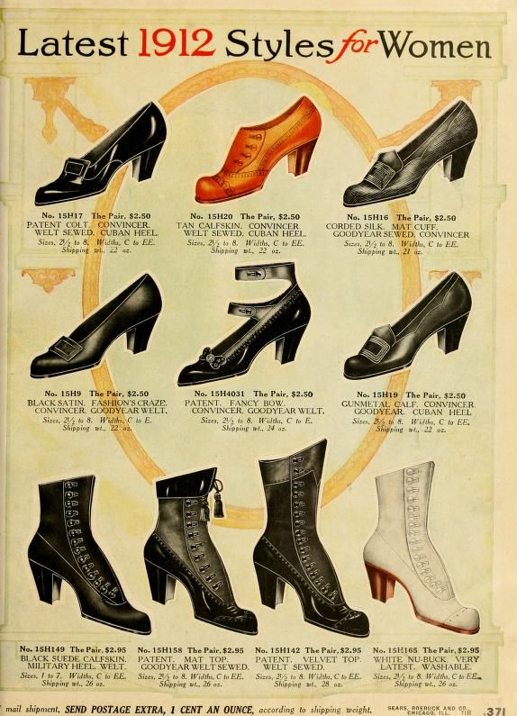 1912 women's shoes color illustration print ad vintage fashion .