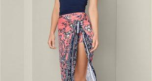 Coral Multi Print Wrap Skirt | VEN