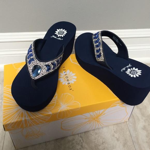 Yellow box Shoes | Belmac Navy Crystal Wedge Sandal | Poshma