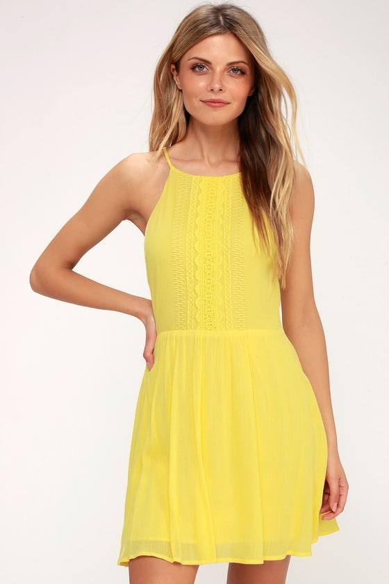Cute Yellow Dress - Crochet Lace Dress - Sundre