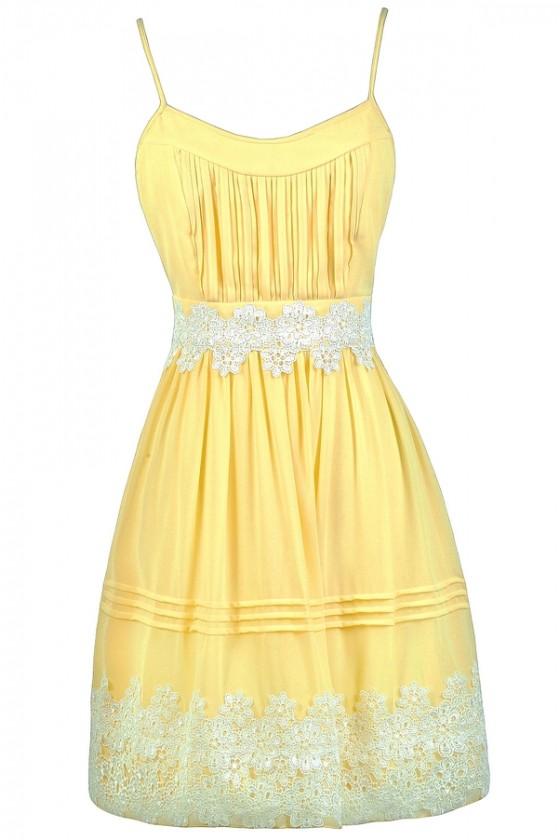 Yellow and Off White Crochet Dress, Yellow A-Line Dress, Yellow .