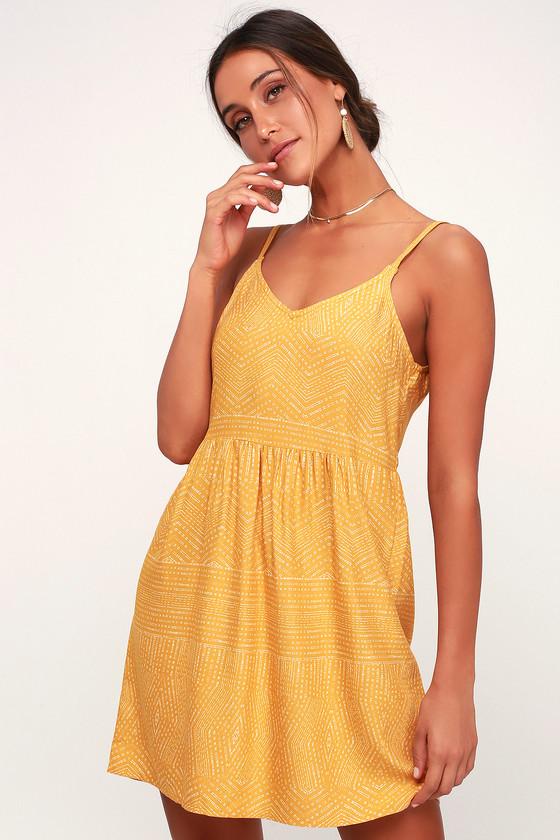 RVCA Nolan - Yellow Print Dress - Toss-On Dress - Sundre