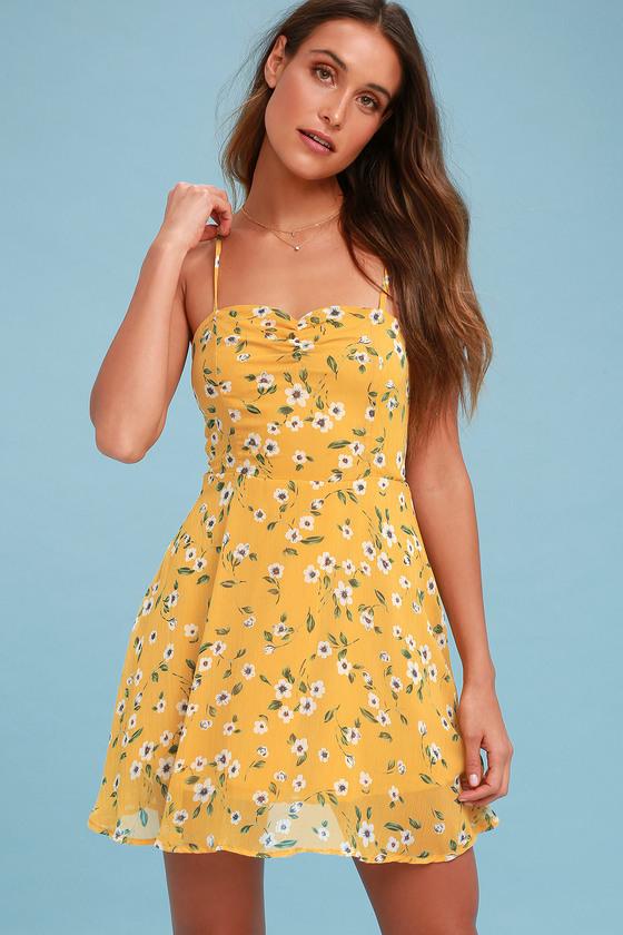 Cute Yellow Dress - Floral Print Dress - Skater Dre