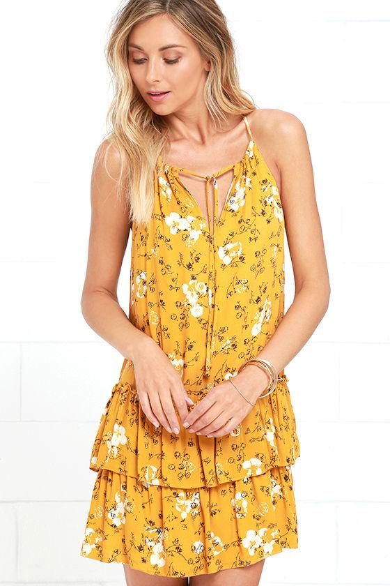Cute Golden Yellow Dress - Floral Print Dress - Sundress - $49.