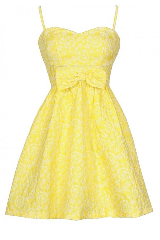 Bright Yellow Sundress, Cute Bright Yellow Bow Dress, Cute .