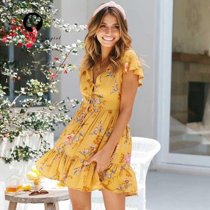 Sweet Yellow Dress Women Summer Beach Ruffle Robe Femme V Neck .