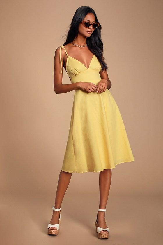 Cute Yellow Dress - Yellow Midi Dress - Yellow Skater Dre