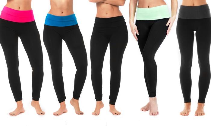 Women's Foldover Waistband Yoga Leggings (5-Pack)   Group